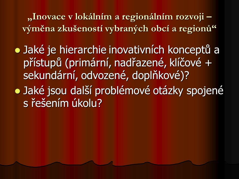 """""""Inovace v lokálním a regionálním rozvoji – výměna zkušeností vybraných obcí a regionů Jaké je hierarchie inovativních konceptů a přístupů (primární, nadřazené, klíčové + sekundární, odvozené, doplňkové)."""