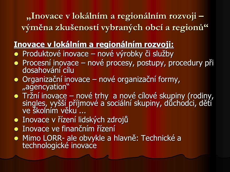 """""""Inovace v lokálním a regionálním rozvoji – výměna zkušeností vybraných obcí a regionů"""" Inovace v lokálním a regionálním rozvoji: Produktové inovace –"""