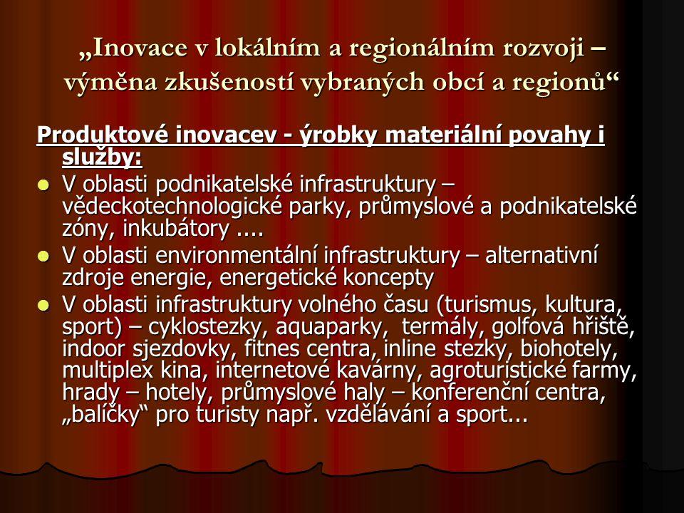 """""""Inovace v lokálním a regionálním rozvoji – výměna zkušeností vybraných obcí a regionů Produktové inovacev - ýrobky materiální povahy i služby: V oblasti podnikatelské infrastruktury – vědeckotechnologické parky, průmyslové a podnikatelské zóny, inkubátory...."""