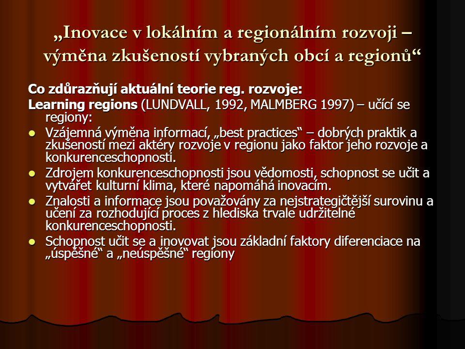 """""""Inovace v lokálním a regionálním rozvoji – výměna zkušeností vybraných obcí a regionů"""" Co zdůrazňují aktuální teorie reg. rozvoje: Learning regions ("""