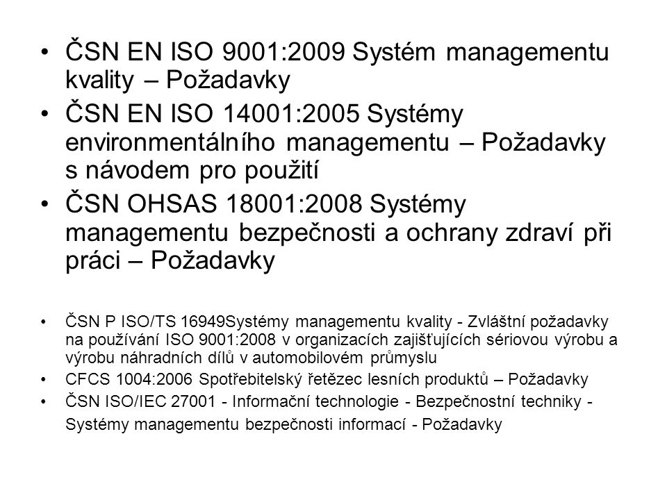 ISO (Mezinárodní organizace pro normalizaci) je celosvětovou federací národních normalizačních orgánů (členů ISO) mezinárodní normy připravují technické komise ISO tvorby norem se zúčastňují také vládní i nevládní mezinárodní organizace, se kterými ISO navázala pracovní vztah