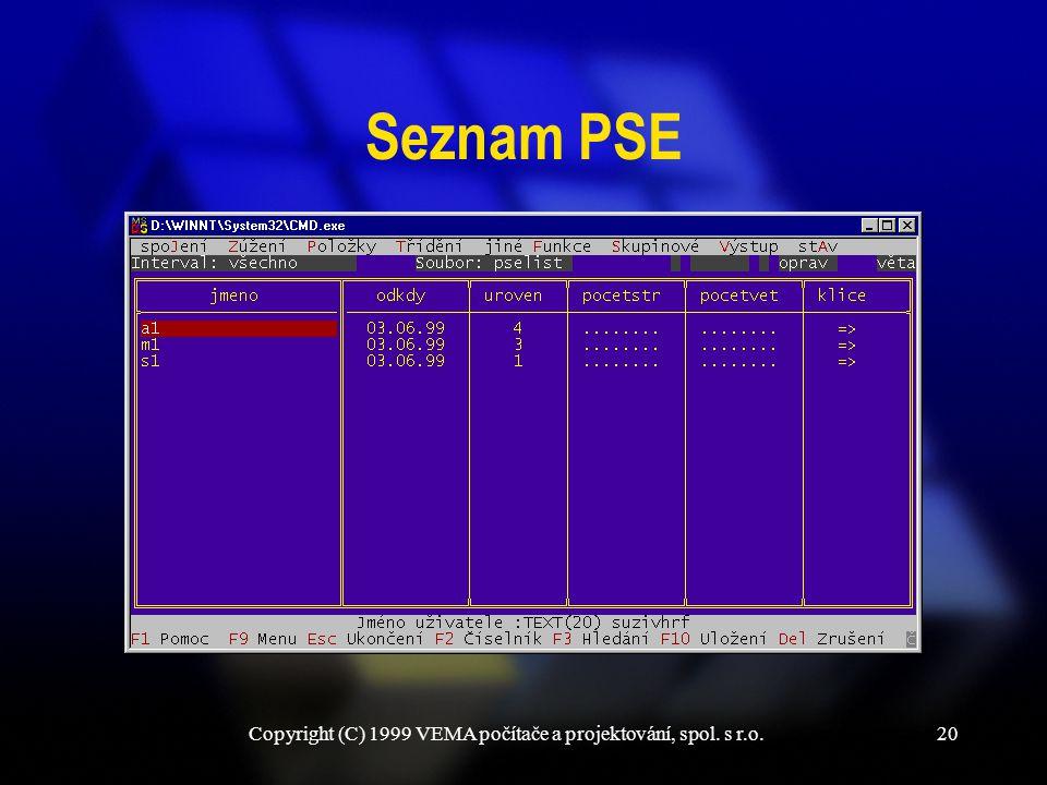 Copyright (C) 1999 VEMA počítače a projektování, spol. s r.o.20 Seznam PSE
