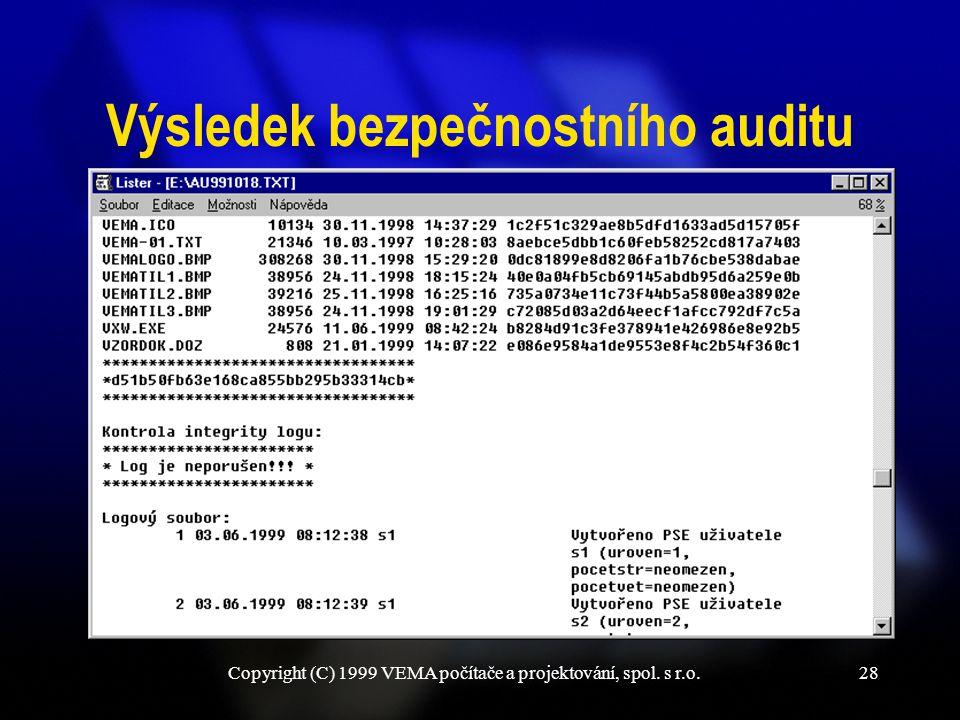 Copyright (C) 1999 VEMA počítače a projektování, spol. s r.o.28 Výsledek bezpečnostního auditu