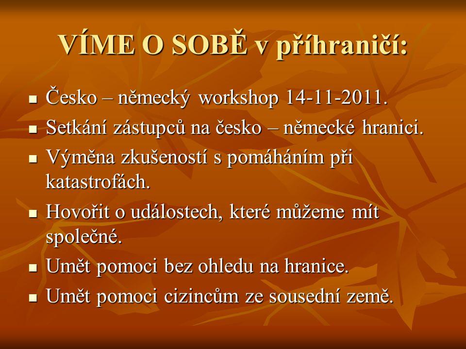 VÍME O SOBĚ v příhraničí: Česko – německý workshop 14-11-2011. Česko – německý workshop 14-11-2011. Setkání zástupců na česko – německé hranici. Setká