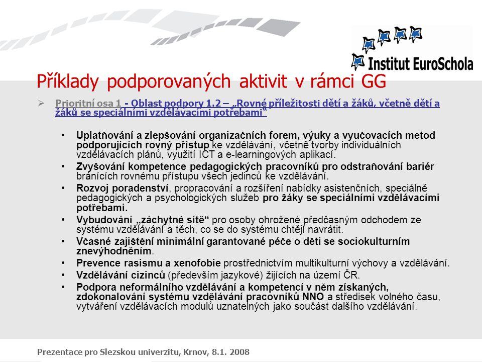"""Prezentace pro Slezskou univerzitu, Krnov, 8.1. 2008 Příklady podporovaných aktivit v rámci GG  Prioritní osa 1 - Oblast podpory 1.2 – """"Rovné příleži"""