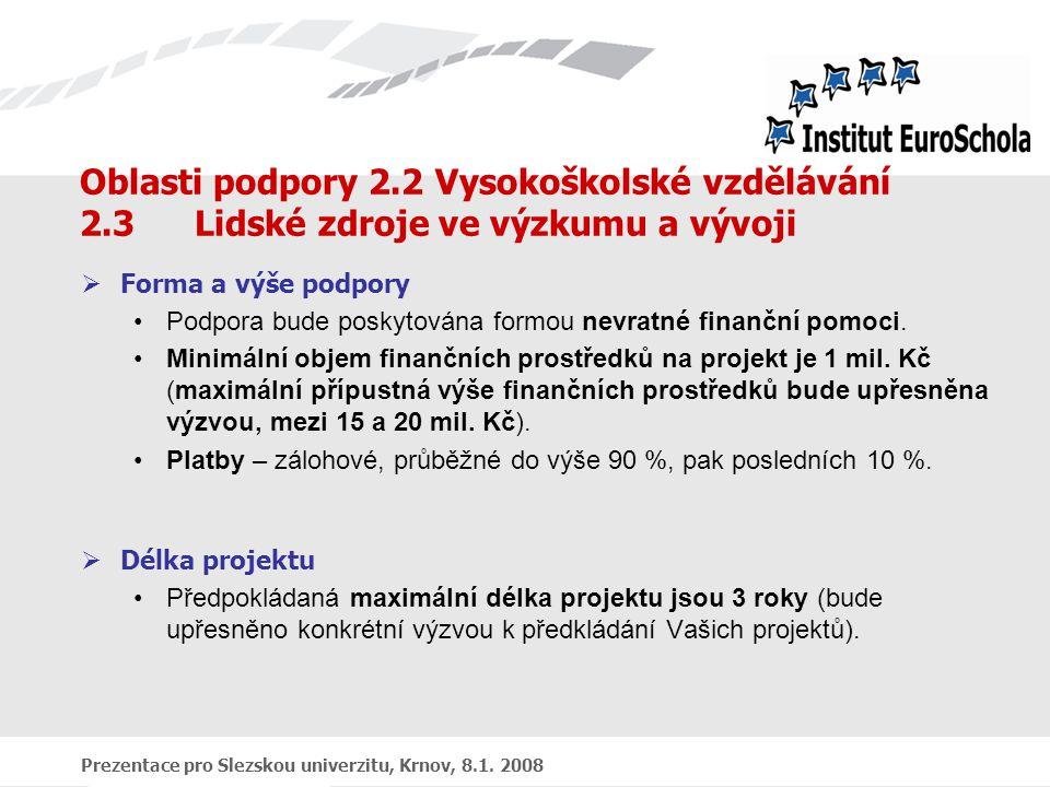 Prezentace pro Slezskou univerzitu, Krnov, 8.1. 2008 Oblasti podpory 2.2 Vysokoškolské vzdělávání 2.3 Lidské zdroje ve výzkumu a vývoji  Forma a výše