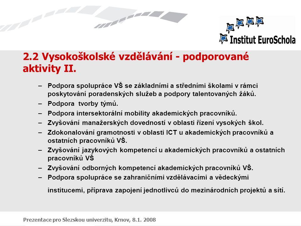 Prezentace pro Slezskou univerzitu, Krnov, 8.1. 2008 2.2 Vysokoškolské vzdělávání - podporované aktivity II. –Podpora spolupráce VŠ se základními a st