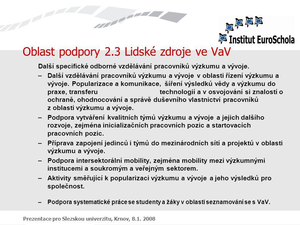 Prezentace pro Slezskou univerzitu, Krnov, 8.1. 2008 Oblast podpory 2.3 Lidské zdroje ve VaV Další specifické odborné vzdělávání pracovníků výzkumu a