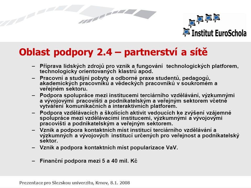 Prezentace pro Slezskou univerzitu, Krnov, 8.1. 2008 Oblast podpory 2.4 – partnerství a sítě –Příprava lidských zdrojů pro vznik a fungování technolog