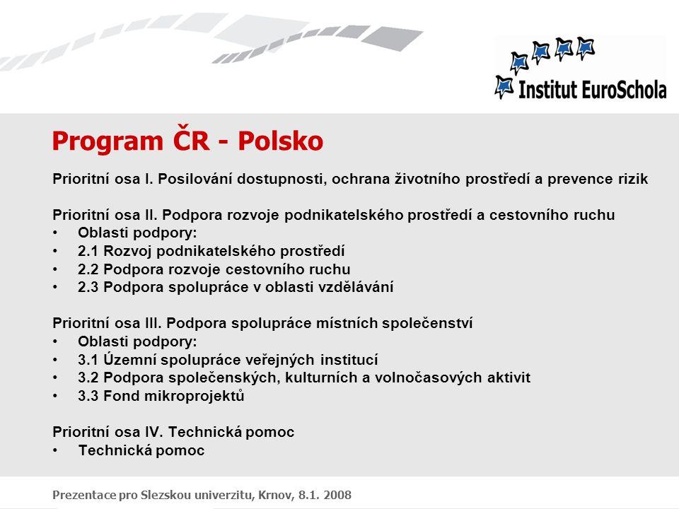 Prezentace pro Slezskou univerzitu, Krnov, 8.1. 2008 Program ČR - Polsko Prioritní osa I.