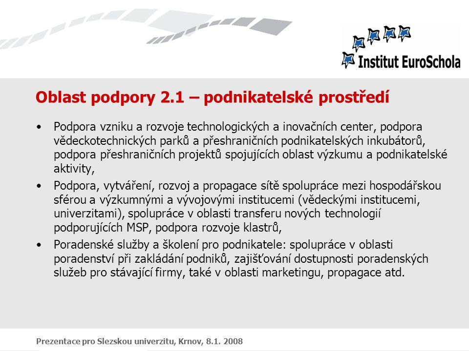 Prezentace pro Slezskou univerzitu, Krnov, 8.1. 2008 Oblast podpory 2.1 – podnikatelské prostředí Podpora vzniku a rozvoje technologických a inovačníc