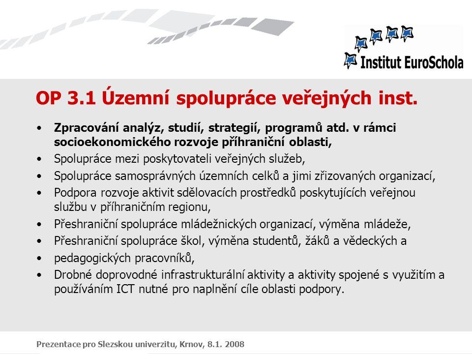 Prezentace pro Slezskou univerzitu, Krnov, 8.1. 2008 OP 3.1 Územní spolupráce veřejných inst.