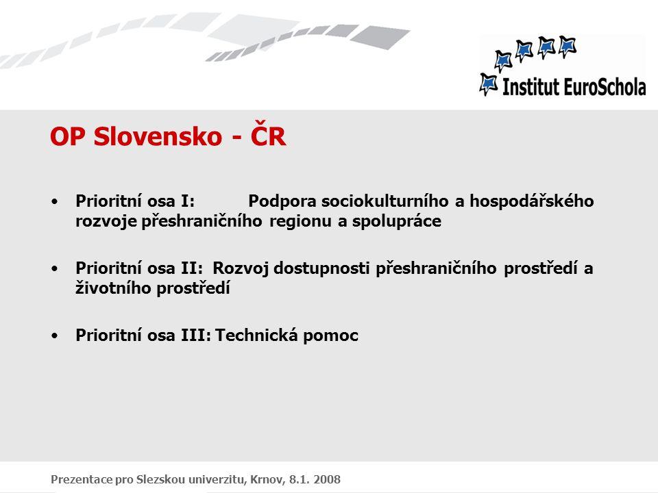 Prezentace pro Slezskou univerzitu, Krnov, 8.1. 2008 OP Slovensko - ČR Prioritní osa I:Podpora sociokulturního a hospodářského rozvoje přeshraničního