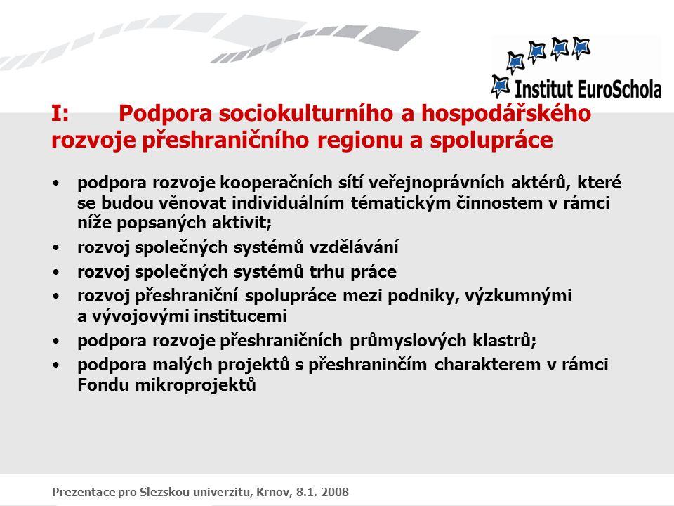 Prezentace pro Slezskou univerzitu, Krnov, 8.1. 2008 I:Podpora sociokulturního a hospodářského rozvoje přeshraničního regionu a spolupráce podpora roz