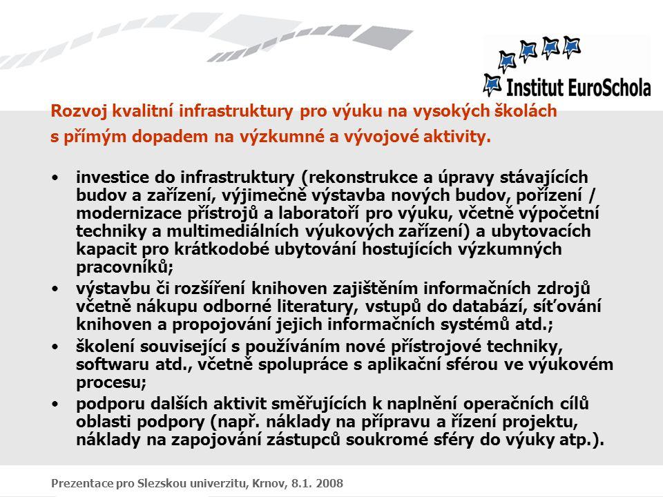 Prezentace pro Slezskou univerzitu, Krnov, 8.1. 2008 Rozvoj kvalitní infrastruktury pro výuku na vysokých školách s přímým dopadem na výzkumné a vývoj