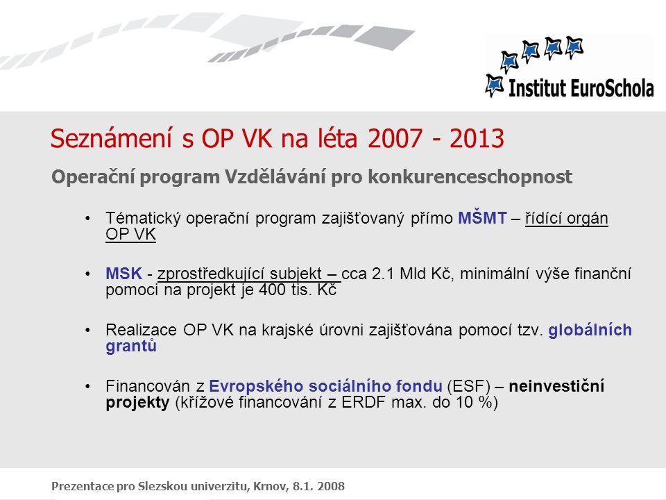 Prezentace pro Slezskou univerzitu, Krnov, 8.1. 2008 Seznámení s OP VK na léta 2007 - 2013 Operační program Vzdělávání pro konkurenceschopnost Tématic