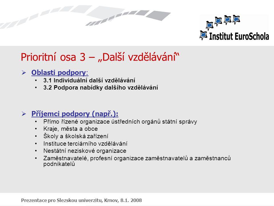 """Prezentace pro Slezskou univerzitu, Krnov, 8.1. 2008 Prioritní osa 3 – """"Další vzdělávání""""  Oblasti podpory: 3.1 Individuální další vzdělávání 3.2 Pod"""