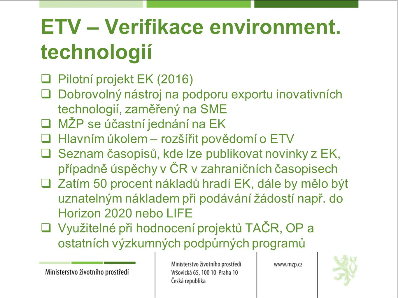 ETV – Verifikace environment.