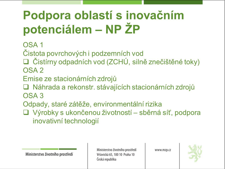 Podpora oblastí s inovačním potenciálem – NP ŽP OSA 1 Čistota povrchových i podzemních vod  Čistírny odpadních vod (ZCHÚ, silně znečištěné toky) OSA 2 Emise ze stacionárních zdrojů  Náhrada a rekonstr.