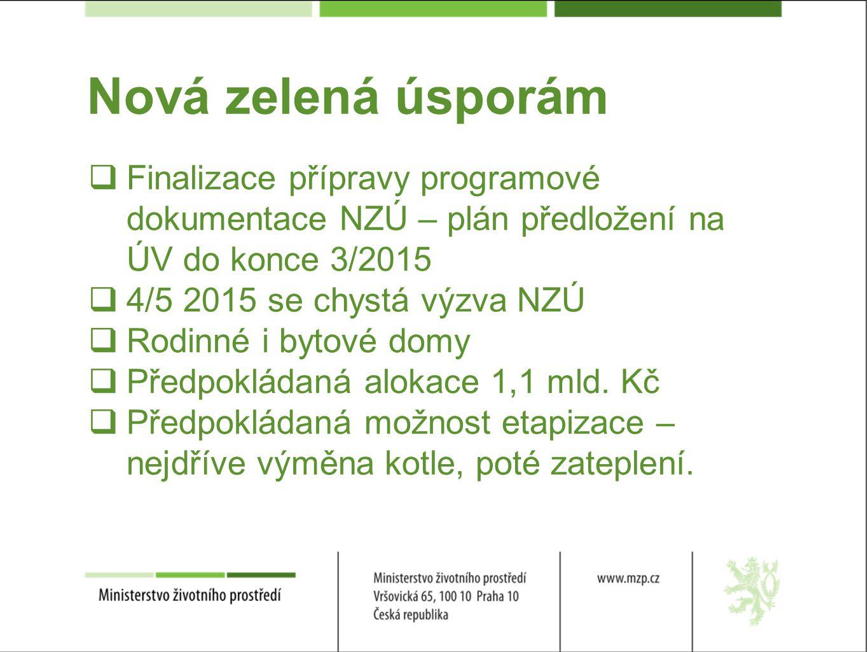 Nová zelená úsporám  Finalizace přípravy programové dokumentace NZÚ – plán předložení na ÚV do konce 3/2015  4/5 2015 se chystá výzva NZÚ  Rodinné i bytové domy  Předpokládaná alokace 1,1 mld.