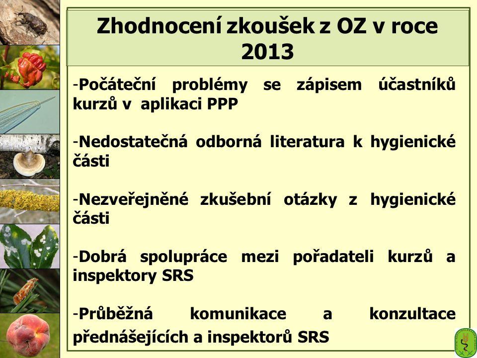Zhodnocení zkoušek z OZ v roce 2013 -Počáteční problémy se zápisem účastníků kurzů v aplikaci PPP -Nedostatečná odborná literatura k hygienické části -Nezveřejněné zkušební otázky z hygienické části -Dobrá spolupráce mezi pořadateli kurzů a inspektory SRS -Průběžná komunikace a konzultace přednášejících a inspektorů SRS