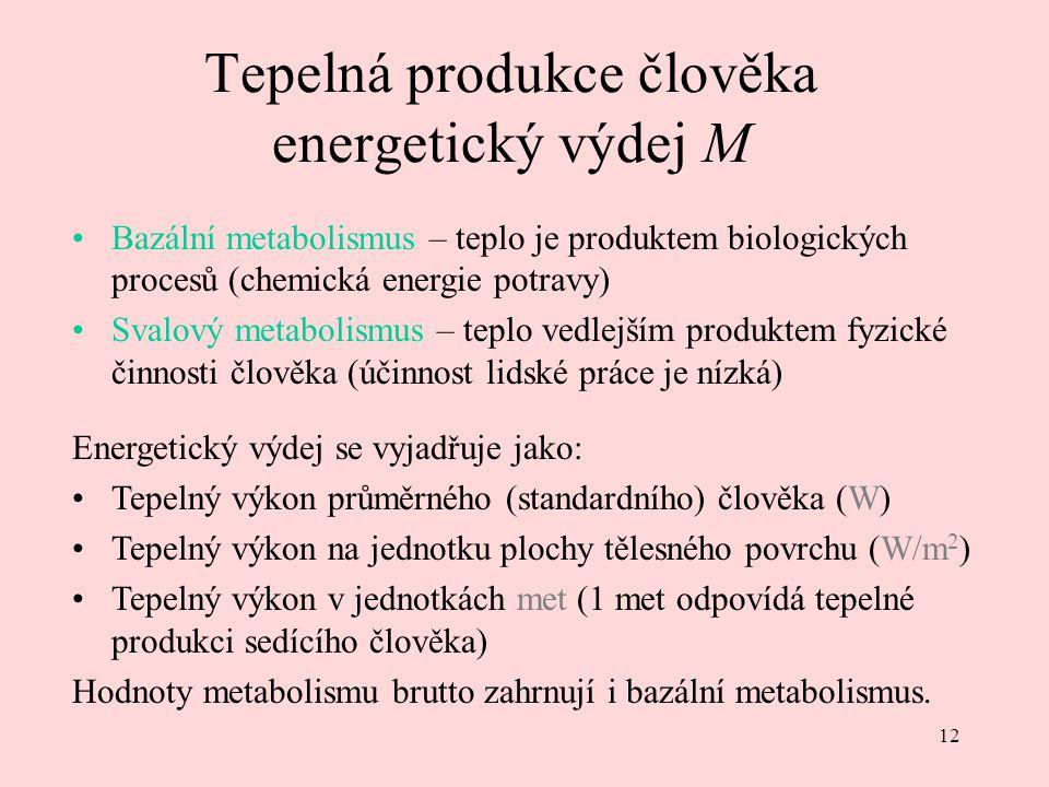 12 Tepelná produkce člověka energetický výdej M Bazální metabolismus – teplo je produktem biologických procesů (chemická energie potravy) Svalový meta