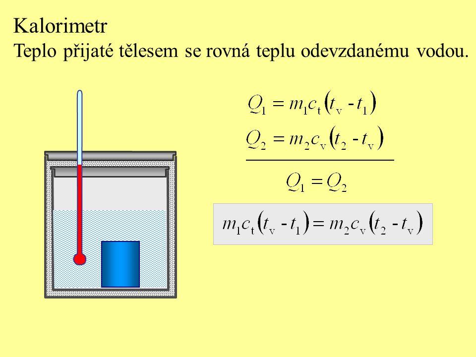 Kalorimetr Teplo přijaté tělesem se rovná teplu odevzdanému vodou.