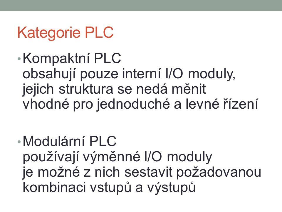 Kategorie PLC Kompaktní PLC obsahují pouze interní I/O moduly, jejich struktura se nedá měnit vhodné pro jednoduché a levné řízení Modulární PLC používají výměnné I/O moduly je možné z nich sestavit požadovanou kombinaci vstupů a výstupů