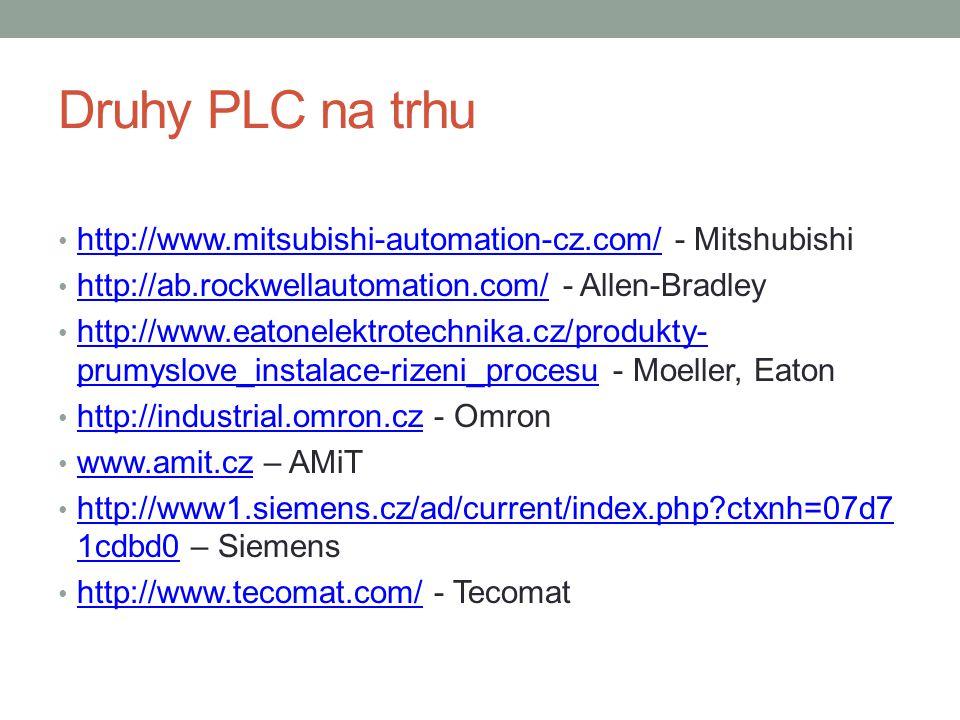 Druhy PLC na trhu http://www.mitsubishi-automation-cz.com/ - Mitshubishi http://www.mitsubishi-automation-cz.com/ http://ab.rockwellautomation.com/ - Allen-Bradley http://ab.rockwellautomation.com/ http://www.eatonelektrotechnika.cz/produkty- prumyslove_instalace-rizeni_procesu - Moeller, Eaton http://www.eatonelektrotechnika.cz/produkty- prumyslove_instalace-rizeni_procesu http://industrial.omron.cz - Omron http://industrial.omron.cz www.amit.cz – AMiT www.amit.cz http://www1.siemens.cz/ad/current/index.php ctxnh=07d7 1cdbd0 – Siemens http://www1.siemens.cz/ad/current/index.php ctxnh=07d7 1cdbd0 http://www.tecomat.com/ - Tecomat http://www.tecomat.com/