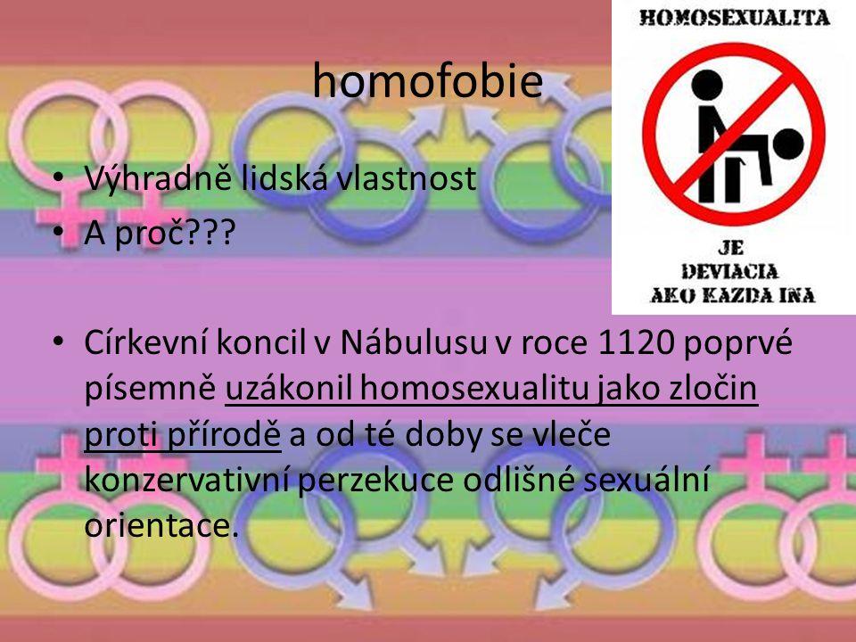 homofobie Výhradně lidská vlastnost A proč??? Církevní koncil v Nábulusu v roce 1120 poprvé písemně uzákonil homosexualitu jako zločin proti přírodě a