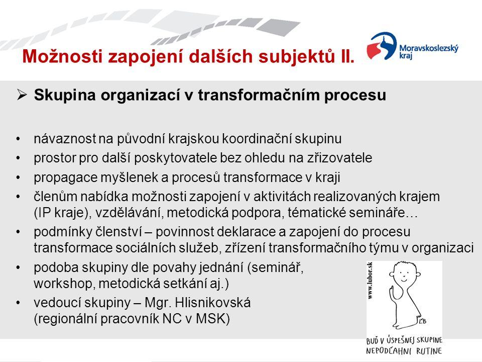 Možnosti zapojení dalších subjektů II.  Skupina organizací v transformačním procesu návaznost na původní krajskou koordinační skupinu prostor pro dal