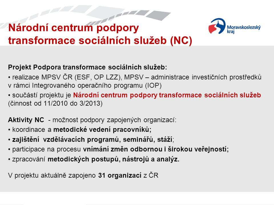 Národní centrum podpory transformace sociálních služeb (NC) Projekt Podpora transformace sociálních služeb: realizace MPSV ČR (ESF, OP LZZ), MPSV – ad
