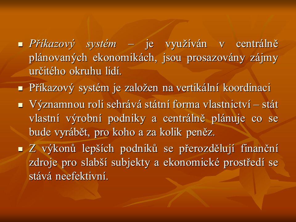 Příkazový systém – je využíván v centrálně plánovaných ekonomikách, jsou prosazovány zájmy určitého okruhu lidí. Příkazový systém – je využíván v cent