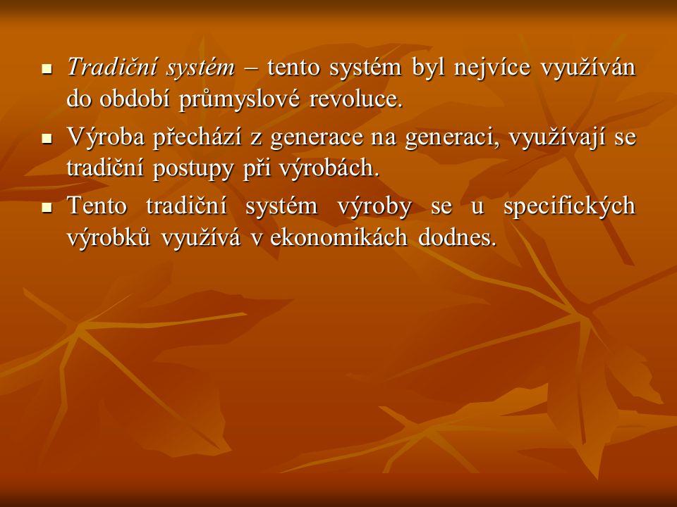 Tradiční systém – tento systém byl nejvíce využíván do období průmyslové revoluce. Tradiční systém – tento systém byl nejvíce využíván do období průmy
