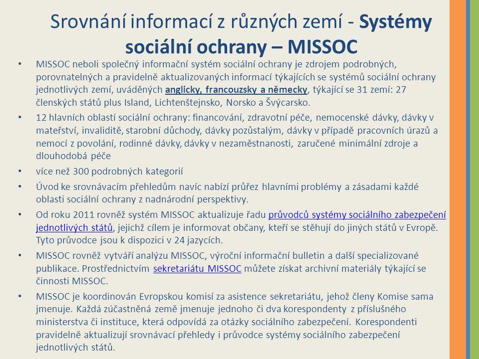 Srovnání informací z různých zemí - Systémy sociální ochrany – MISSOC MISSOC neboli společný informační systém sociální ochrany je zdrojem podrobných, porovnatelných a pravidelně aktualizovaných informací týkajících se systémů sociální ochrany jednotlivých zemí, uváděných anglicky, francouzsky a německy, týkající se 31 zemí: 27 členských států plus Island, Lichtenštejnsko, Norsko a Švýcarsko.