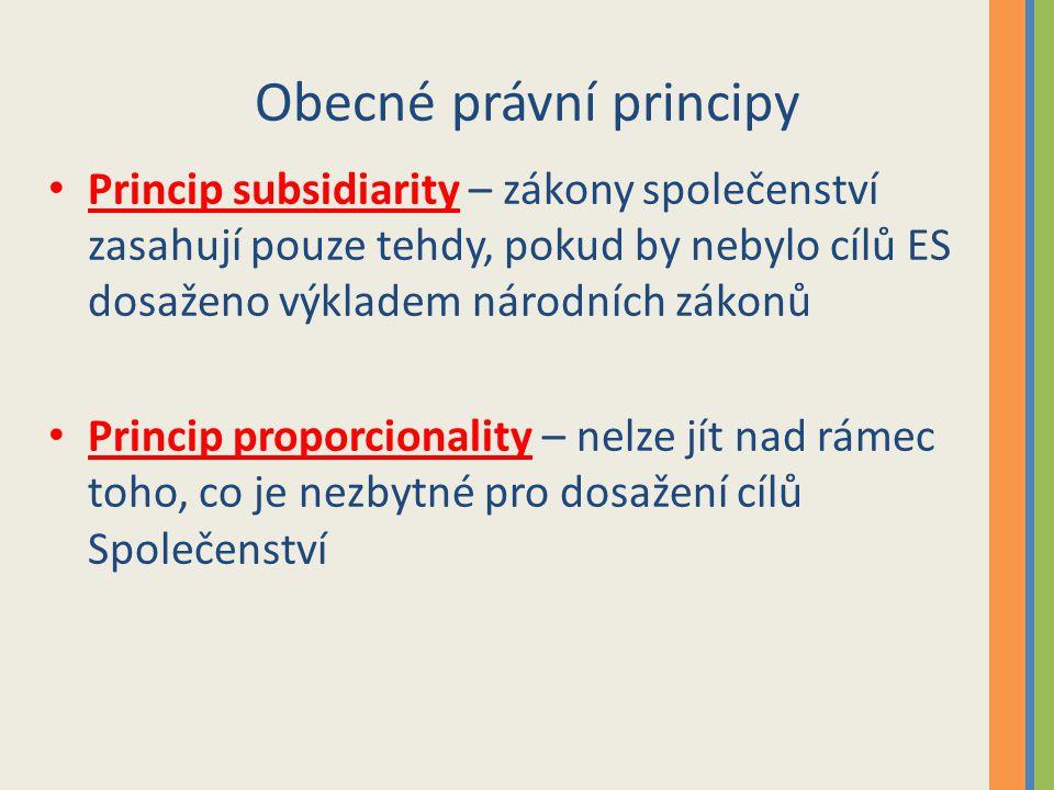 Obecné právní principy Princip subsidiarity – zákony společenství zasahují pouze tehdy, pokud by nebylo cílů ES dosaženo výkladem národních zákonů Princip proporcionality – nelze jít nad rámec toho, co je nezbytné pro dosažení cílů Společenství