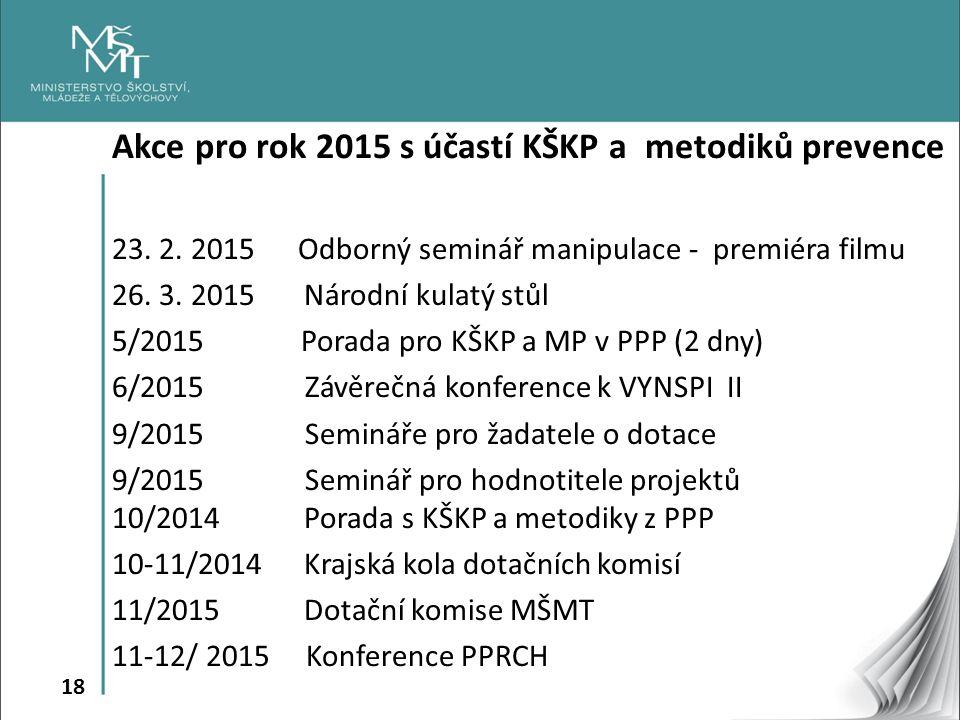 18 Akce pro rok 2015 s účastí KŠKP a metodiků prevence 23. 2. 2015 Odborný seminář manipulace - premiéra filmu 26. 3. 2015 Národní kulatý stůl 5/2015