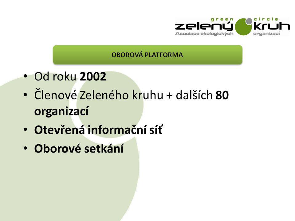OBOROVÁ PLATFORMA Od roku 2002 Členové Zeleného kruhu + dalších 80 organizací Otevřená informační síť Oborové setkání