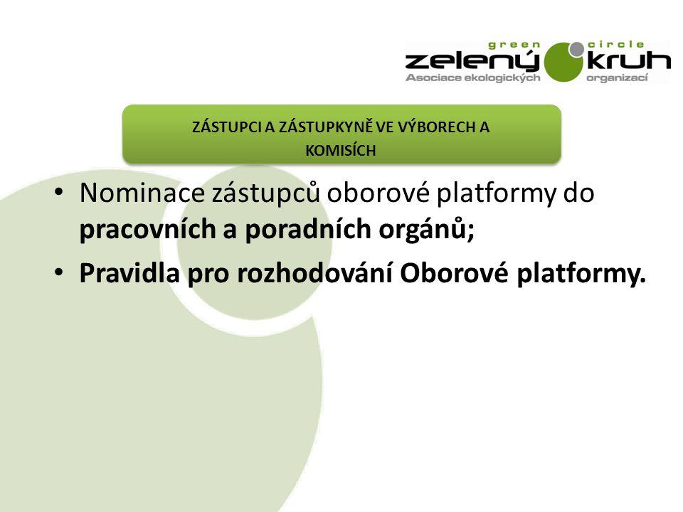 ZÁSTUPCI A ZÁSTUPKYNĚ VE VÝBORECH A KOMISÍCH Nominace zástupců oborové platformy do pracovních a poradních orgánů; Pravidla pro rozhodování Oborové platformy.