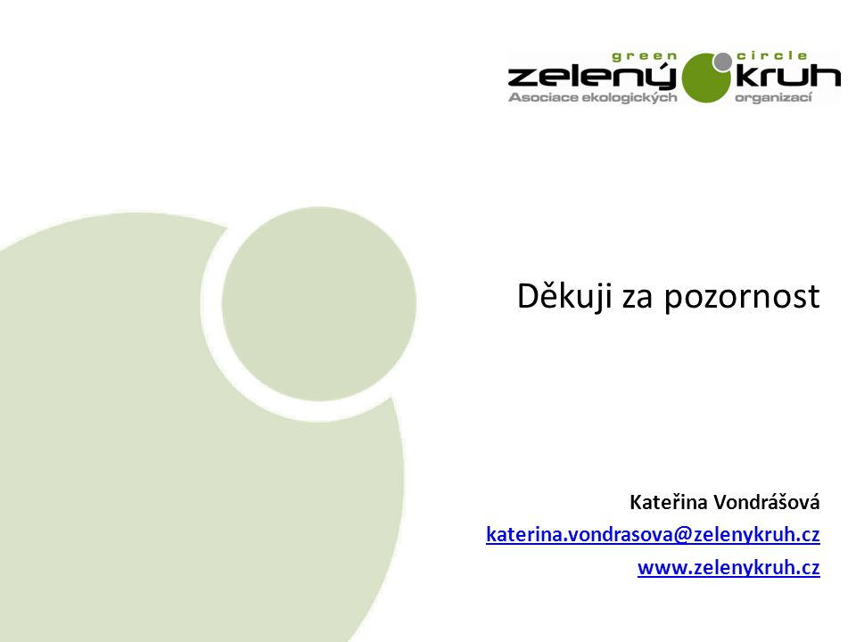 Děkuji za pozornost Kateřina Vondrášová katerina.vondrasova@zelenykruh.cz www.zelenykruh.cz