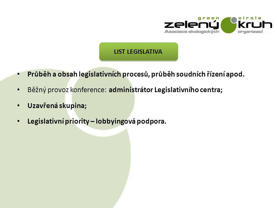 Průběh a obsah legislativních procesů, průběh soudních řízení apod.
