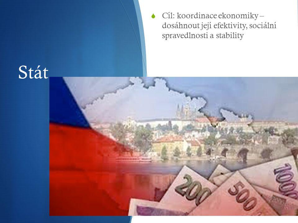 Stát  Cíl: koordinace ekonomiky – dosáhnout její efektivity, sociální spravedlnosti a stability