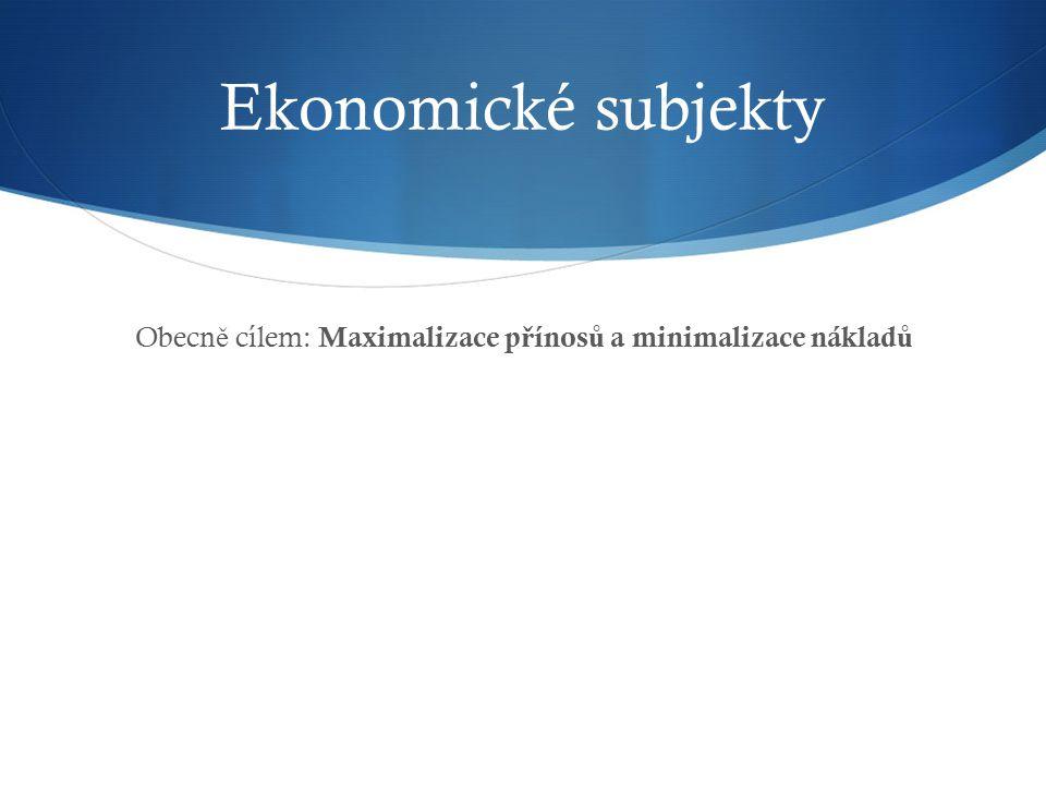 Ekonomické subjekty Obecn ě cílem: Maximalizace p ř ínos ů a minimalizace náklad ů