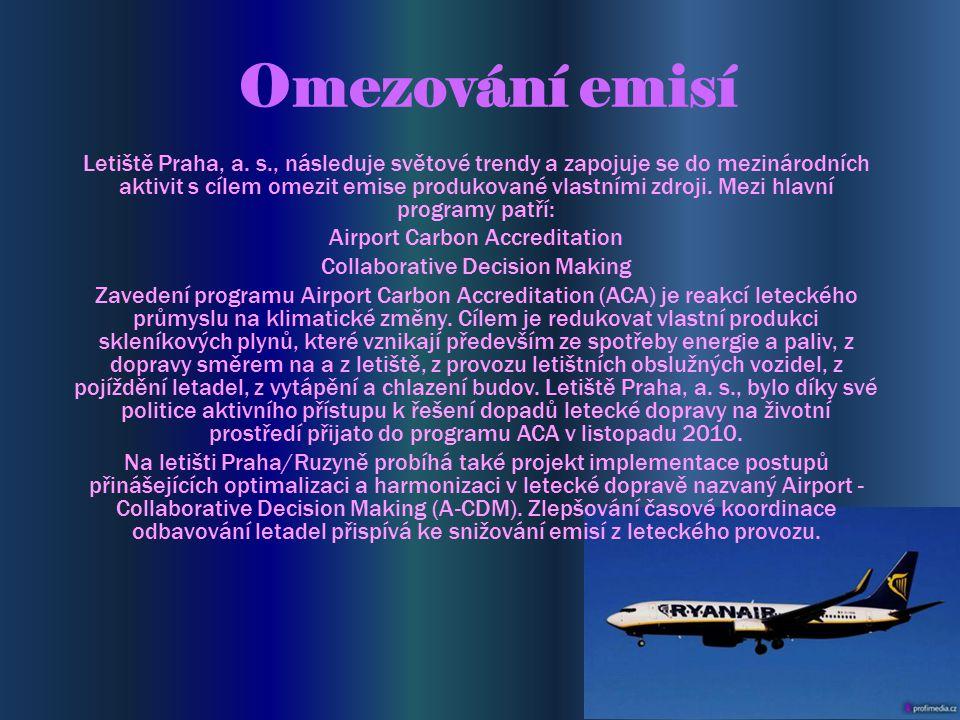 Omezování emisí Letiště Praha, a. s., následuje světové trendy a zapojuje se do mezinárodních aktivit s cílem omezit emise produkované vlastními zdroj