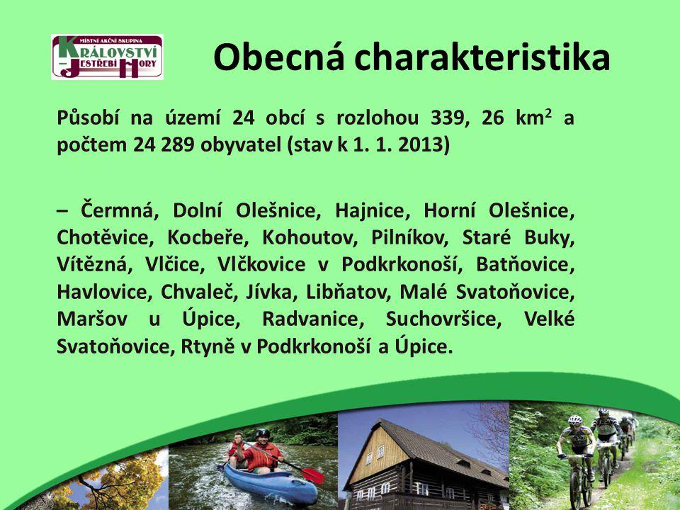 Obecná charakteristika Působí na území 24 obcí s rozlohou 339, 26 km 2 a počtem 24 289 obyvatel (stav k 1. 1. 2013) – Čermná, Dolní Olešnice, Hajnice,
