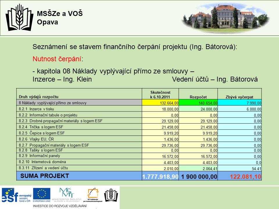 MSŠZe a VOŠ Opava Seznámení se stavem finančního čerpání projektu (Ing.