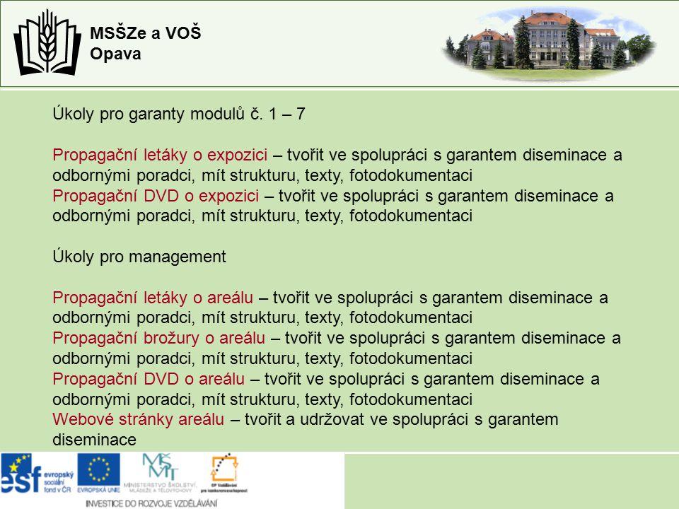MSŠZe a VOŠ Opava -kapitola 05 Nákup služeb tvorba propagačních letáků a brožur – podklady garanti modulů, tvorba RNDr.