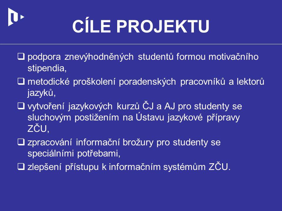 CÍLE PROJEKTU  podpora znevýhodněných studentů formou motivačního stipendia,  metodické proškolení poradenských pracovníků a lektorů jazyků,  vytvoření jazykových kurzů ČJ a AJ pro studenty se sluchovým postižením na Ústavu jazykové přípravy ZČU,  zpracování informační brožury pro studenty se speciálními potřebami,  zlepšení přístupu k informačním systémům ZČU.