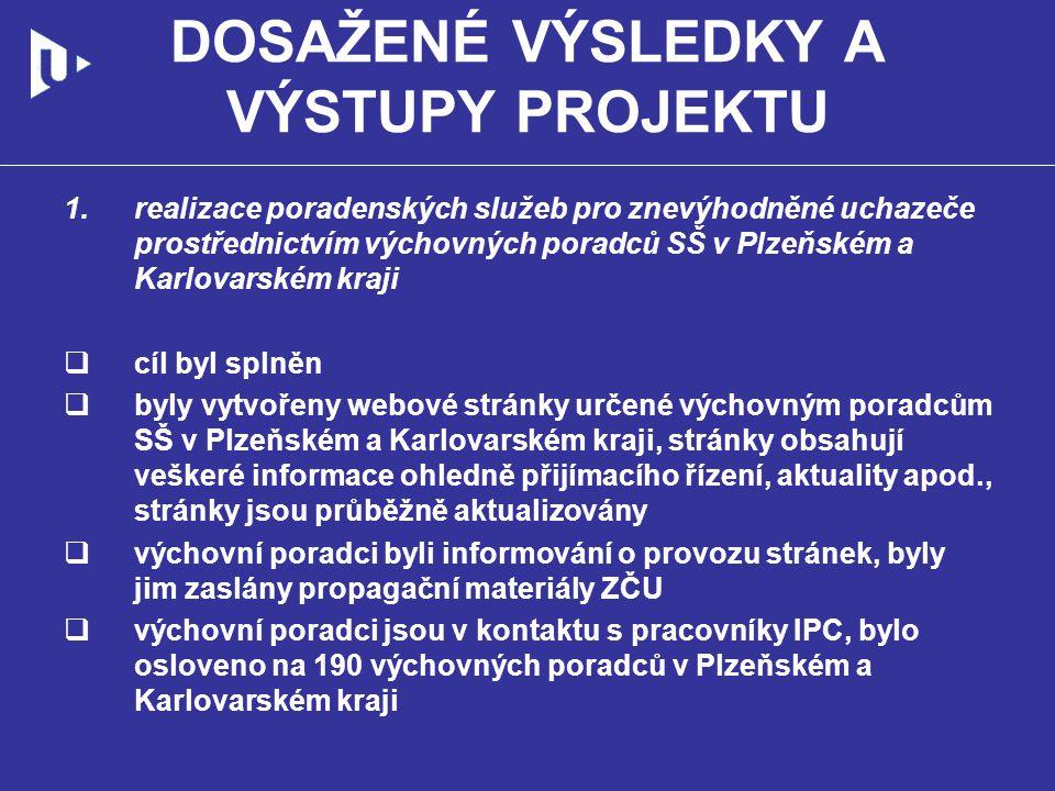 DOSAŽENÉ VÝSLEDKY A VÝSTUPY PROJEKTU 2.