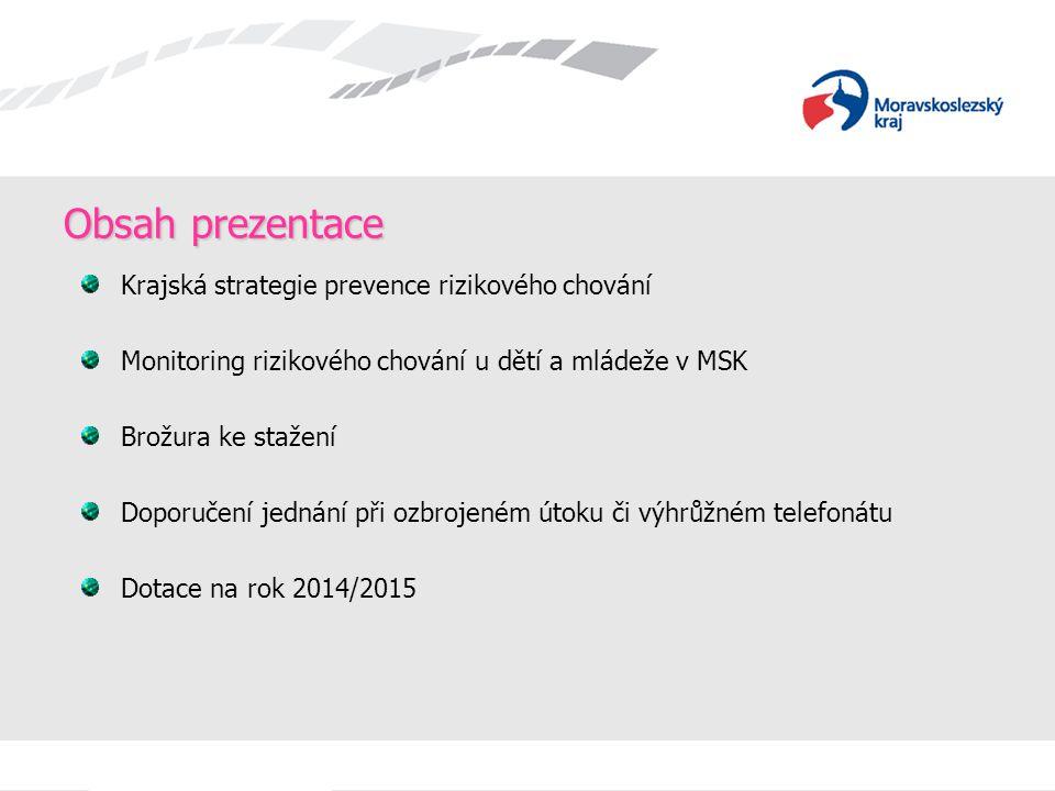Obsah prezentace Krajská strategie prevence rizikového chování Monitoring rizikového chování u dětí a mládeže v MSK Brožura ke stažení Doporučení jedn